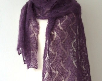 ON SALE 20% OFF dark plum shawl, silk mohair wrap, purple scarf, warm and cozy, luxury gift