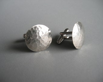 Textured Hammered Silver CUFFLINKS-- Classic Cufflinks
