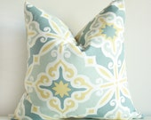 Golden Yellow and Blue Tanza Pillow Cover