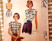 Vintage pattern McCall 7305 1940s blouse Sewing Bust 36  Bow Post War Secretary blouse Bust 36 Button Cap sleeves Shoulder pad