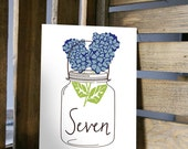 Table Number Card - Hydrangea Blossoms in a Mason Jar