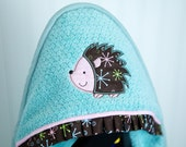 hedgehog hooded towel aqua infant toddler child unisex gender neutral gift personalized many colors