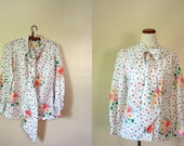 FREE USA SHIPPING / Vintage Shirt / 60's Floral Bouse / Bow Tie Top
