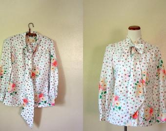 Vintage Shirt / 60's Floral Bouse / Bow Tie Top