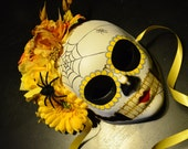 Spring Sunshine Day of the Dead - Bridal Dia de los muertos Golden yellow rose and floral Headdress