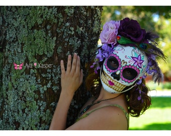 Songbird - Day of the Dead Mask Colorful Pink Purple Green Red Floral Nature Bird Feather Peacock Skeleton Dia De los Muertos Katrina mask