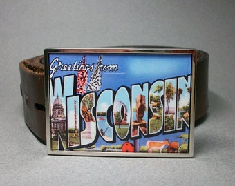 Belt Buckle Wisconsin Vintage Postcard