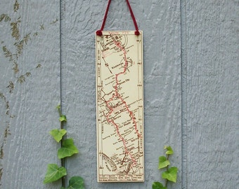 Orlando to Fort Meyers Florida Vintage Road Map Wall Hanging Kissimmee Unique Travel Gift