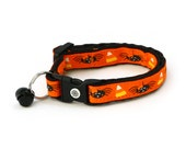 Halloween Cat Collar - Spiders and Candy Corn on Orange - Kitten or Large Size