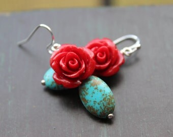Turquoise and Red Rose earrings