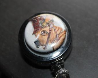Christmas Steampunk Dog and Sugar Skull Badge Holder Retractable Badge Holder