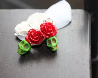Red Rose and Green Sugar Skulls earrings