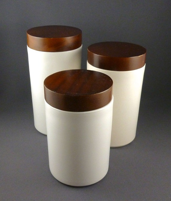 Kitchen Canisters Ceramic Sets: Modern Ceramic And Wood Kitchen Canister Set