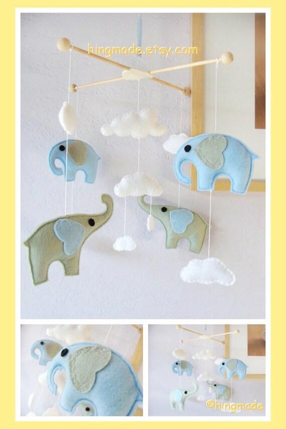 Baby Crib Mobile Neutral Nursery Felt Elephant By Hingmade
