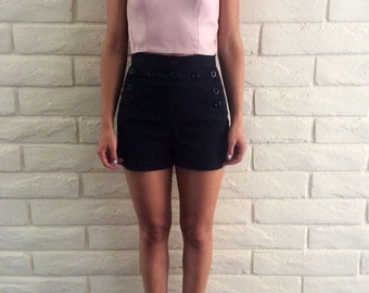 Vintage Powder Pink Leather Crop Top/// Size S