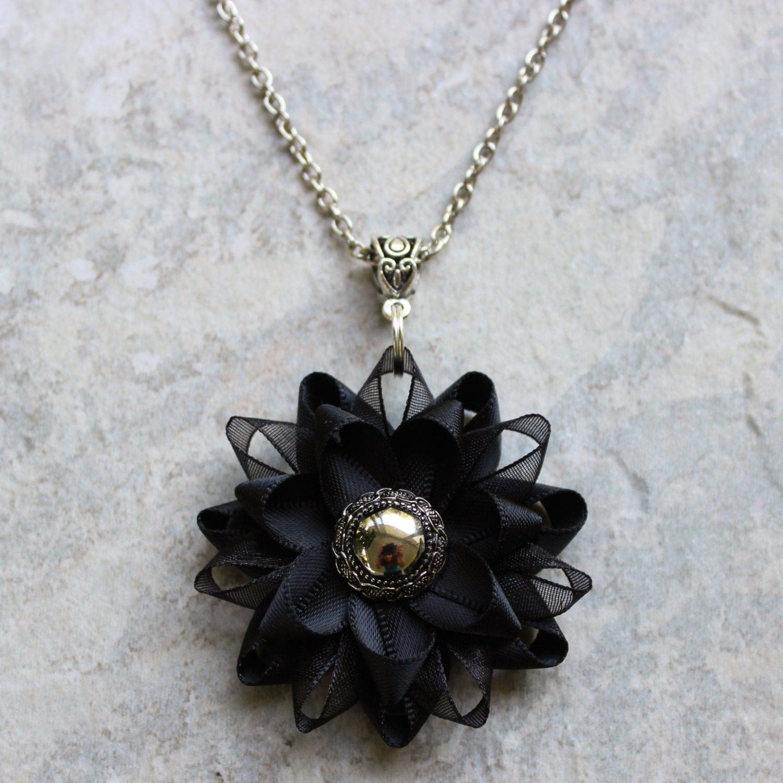 Black Pendant Necklace Black Flower Necklace by PetalPerceptions