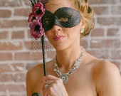 Black and Purple Masquerade Mask- with veil and feathers