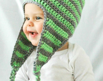 Baby Boy Winter Hat, Lime Green and Gray, Newborn, EarFlap, Pom Pom, Made to Order, 3-6 Months, 6-12 Months, Infant, Crochet Baby Hat