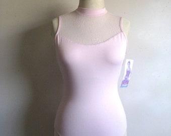 Vintage 1980s Bodysuit NOS Gilda Marx Pale Pink 1 pc Lace Workout Suit