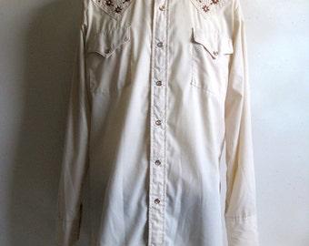 Vintage 1980s Mens Shirt Western Embroidery Beige Brown Shirt XL