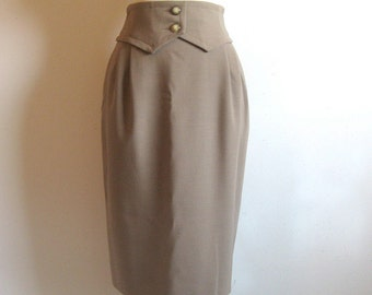 Vintage 1980s Designer Skirt VALENTINO MissV Toffee Brown Wool Crepe Skirt 12US