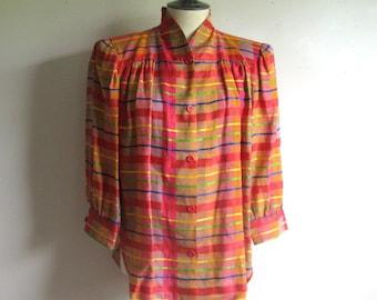 Vintage 1980s Plaid Blouse Orange Pink 40s Style Linen Blend Blouse 12 Lrg