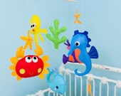 """Baby Mobile - Starfish Crib Mobile - """"Sea horse and His Firends""""  - Custom Nursery Mobile (Match your bedding)"""