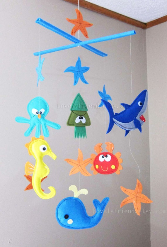 Items similar to baby mobile starfish crib mobile for Sea animal baby mobile