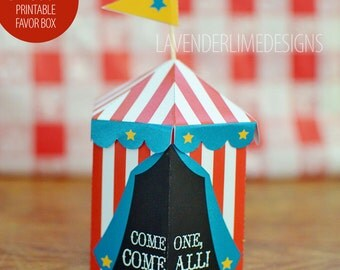 Printable DIY Circus Carnival 2 Favor Box with Cupcake Flags, Red, White, Blue, Yellow Instant Download