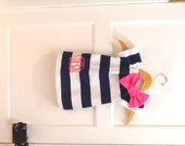 Monogrammed Navy White Stripe Hot Pink Short Sleeve Dress Embroidery Bow 0-3 3-6 6-9 9-12 Month 12 Month 18 Month 2T 3T 4T 5T 6 Nautical