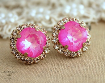 Pink Earrings, Neon Pink Crystal Earrings, Gift For Her, Swarovski Stud Earrings, Hot Pink Earrings, Crystal Pink Earrings, Pink Studs