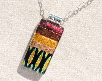 "Dichroic Glass Pendant, Fused Glass Pendant - Autumn, Fall, Warm, Rustic, Earth Tones, Bronze Copper Gold Rust, 2"" x 7/8"" (Item #10604-P)"