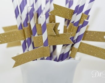 Purple & White Stripe Paper Straws with Gold Glitter Flags - 24 count - LSU