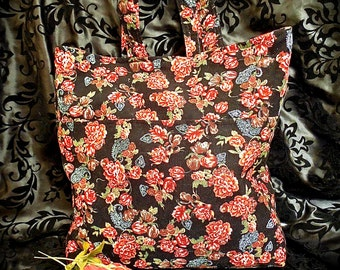 Large Carry-All Tote in Rose Bouquet Corduroy