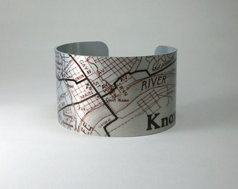 Knoxville Tennessee Vintage Map Cuff Bracelet Wide Metal Unique Gift for Men or Women
