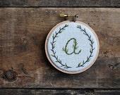 Custom Initial Embroidery, Personalized Hoop Art, Nursery Decor, Wall Decor