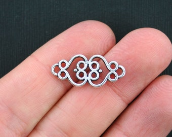 8 Connector Charms Antique Silver Tone ornate Scroll Design - SC3508