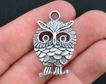 4 Owl Charms Antique Silver Tone Large Size- SC1005