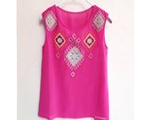 SALE Women's Tunic Moroccan Boho Chic Mexican Embroidered Indian Coachella Aztec Beach Hippie Gypsy Lord of the Rings Chiffon Tribal Kaftan