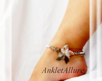 Chic Beach Feet Natural Shell Starfish Anklet White Silver Ankle Bracelet Beach Ankle Bracelet