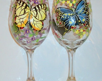 Butterflies and Flowers Hand Painted Wine Glasses Set of 2 / 20 oz. Wine Glasses Black Swallowtail Yellow Swallowtail