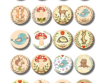 12 and 16 mm circles digital collage sheet IN THE WOODS. Woodland printables for earrings. Printable forest animals images digital download