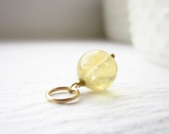 Butter Yellow Citrine Jewelry - Natural Citrine Pendant - 14k Gold Wire Wrapped Jewelry Handmade - Yellow Gold Jewelry - JustDangles