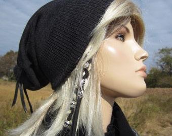 Merino Wool Slouch Beanie Hat Tam Charcoal Gray Knit Skull Cap A947