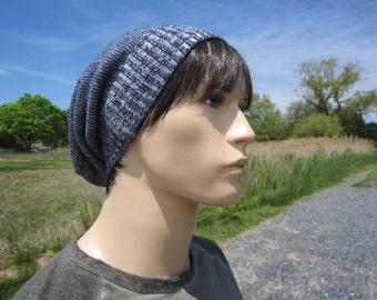 BOHO Clothes for Men Blue Slouch Beanie Men's Cotton Baggy Leather Tie Back Knit Hat A1359