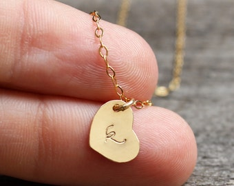 Tiny heart initial necklace, gold initial necklace, personalized jewelry, 14kt gold filled heart charm, personalized initial, bridesmaids