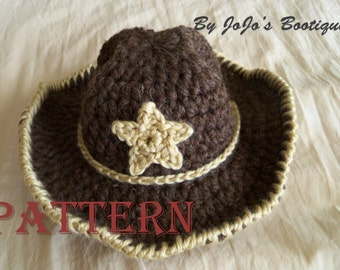 PDF Baby Cowboy Hat PATTERN -Baby Cowboy Hat with Star - Western Hat - Crochet Cowboy Hat Pattern -Instant Download-by JoJosBootique