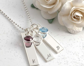 Personalized Necklace - up to four Rectangles with birthstones - Mommy jewelry