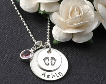 New Baby - Personalized Necklace - Sterling Silver - Hand Stamped - for New Mommy - baby feet - footprints