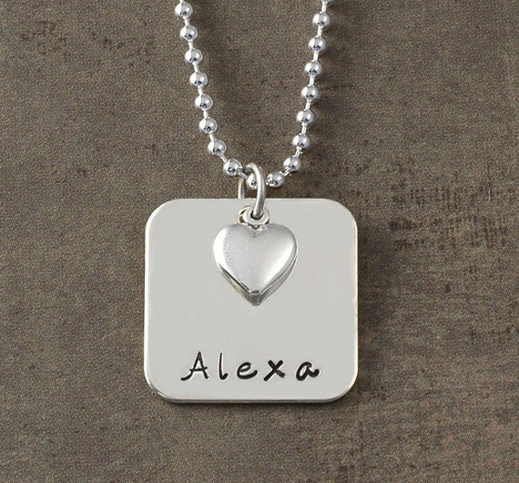 Hand stamped - Personalized Square  with Heart Charm
